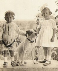 Mexican children on pineapple plantation with their dog