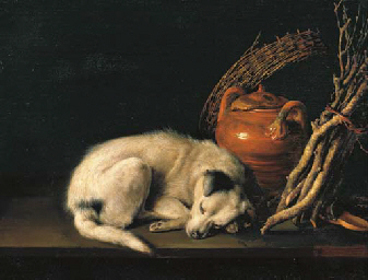 Gerrit Dou, Sleeping Dog Beside a Terracotta Jug, a Basket, a Pair of Clogs and a Pile of Kindling Wood. 1650. Oil on canvas.