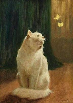 Arthur Heyer, White Cat and Two Brimstone Butterflies.