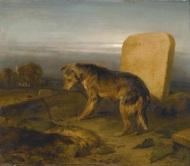 Edwin Henry Landseer. The Poor Dog (The Shephard's Grave). 1829. Oil on panel. 32.5 x 38.5 cm.