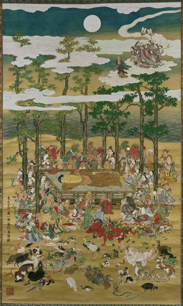 Unidentified artist, Death of the Historical Buddha (Nehan), Kamakura period (1185–1333), 14th century. Kyoto, Japan. Hanging scroll; ink, gold and color on silk. 200.7 x 188.6 cm. Rogers Fund.