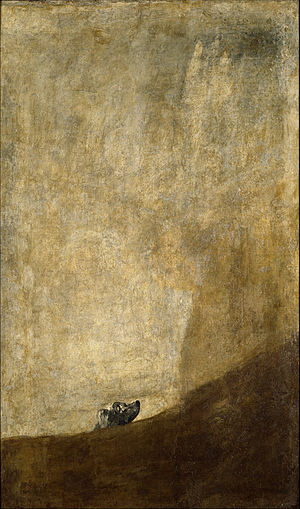 Francisco de Goya y Lucientes. Half-submerged Dog. 1820-23. Oil on plaster, transferred to canvas. 131 cm x 79 cm.